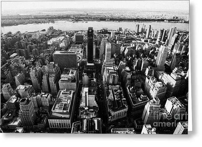 View Of Manhattan West Towards Hudson River And One Penn Plaza New York City Greeting Card