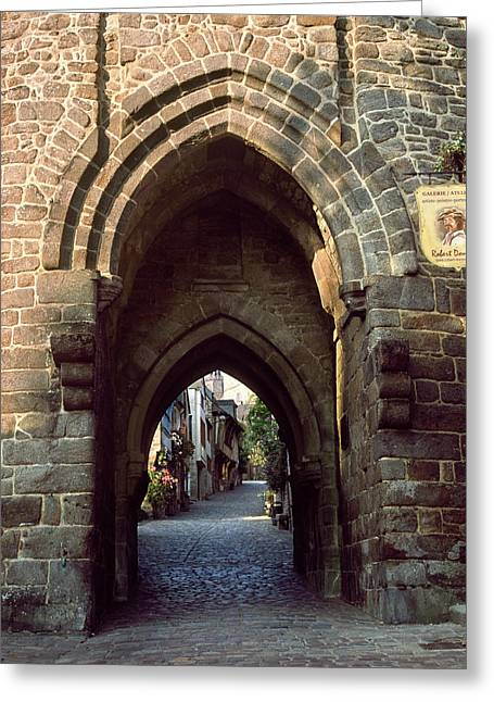 View Of Medieval Gate In Dinan Greeting Card