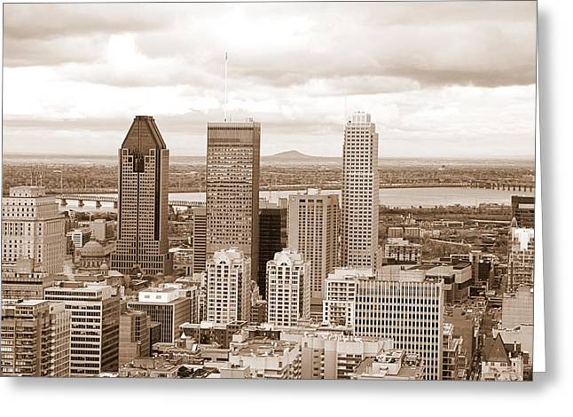 View Of Montreal In Sepia Greeting Card by Valentino Visentini