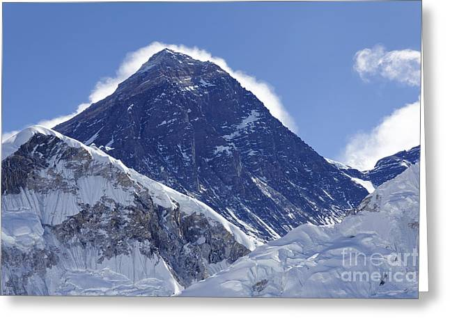View Of Mount Everest From The Summit Of Kala Pathar In The Everest Region Of Nepal Greeting Card by Robert Preston
