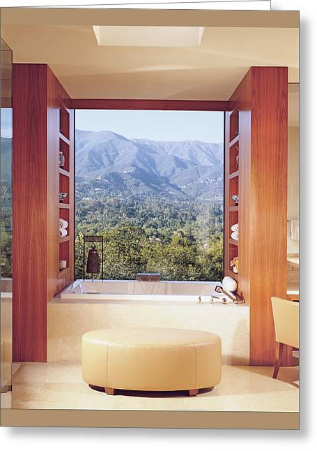 View Of Mountain Through Bathroom Window Greeting Card by Mary E. Nichols