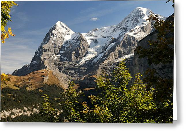 View Of Mt Eiger And Mt Monch, Murren Greeting Card by Panoramic Images