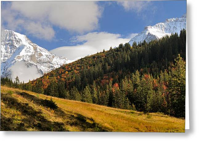 View Of Mt Jungfrau And Mt Monch Greeting Card by Panoramic Images