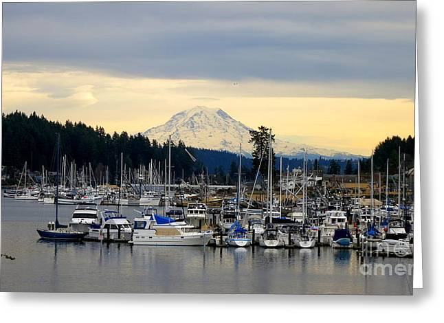 View Of Mt. Rainier From Gig Harbor Wa Greeting Card