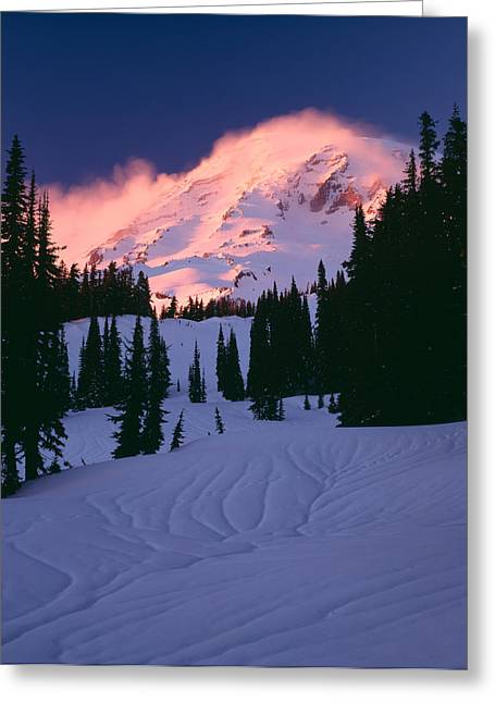 Temperature Greeting Cards - View Of Mt Rainier In Winter, Mt Greeting Card by Panoramic Images