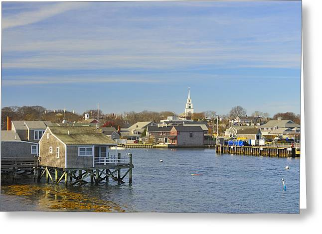 View Of Nantucket From The Harbor Greeting Card by Marianne Campolongo