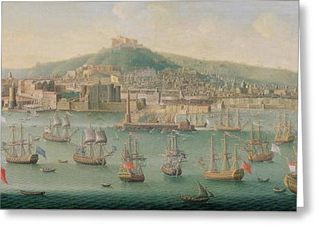 View Of Naples Greeting Card by Gaspar Butler