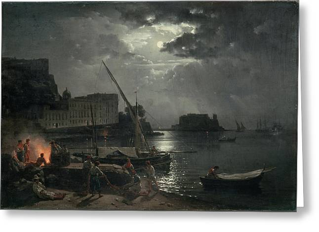 View Of Naples In Moonlight Greeting Card by Silvestr Fedosievich Shchedrin