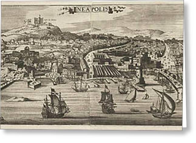 View Of Naples, Jan Van De Velde II Greeting Card