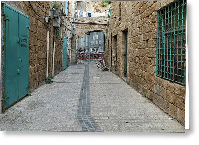View Of Narrow Alley, Acre Akko, Israel Greeting Card