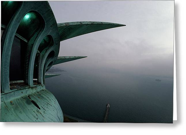 View Of New York Harbor From The Top Greeting Card