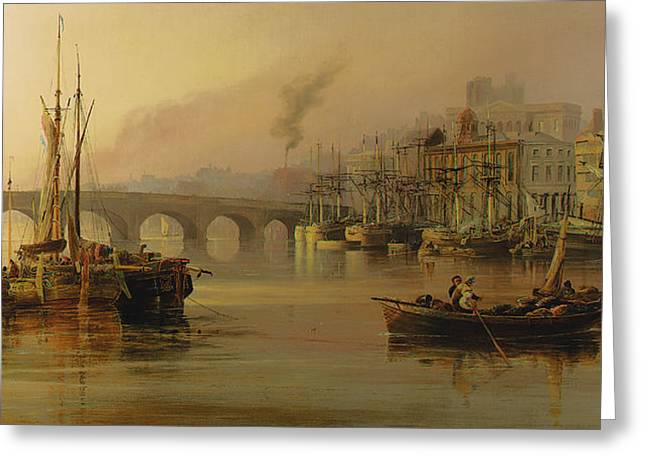 View Of Newcastle From The River Tyne Greeting Card by Thomas Miles Richardson