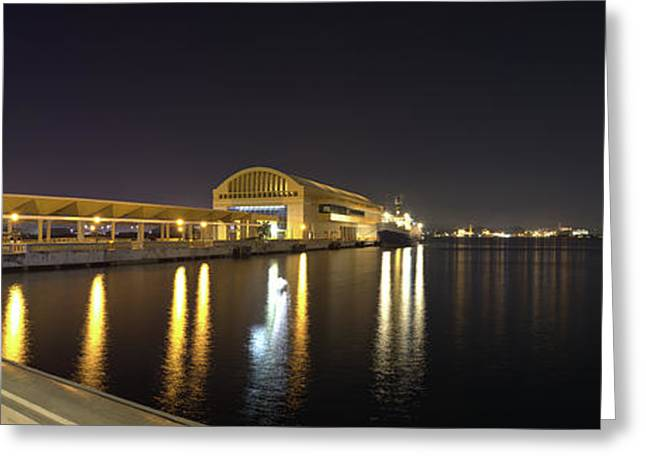 View Of Pier 6 At Night, Bahia Urbana Greeting Card