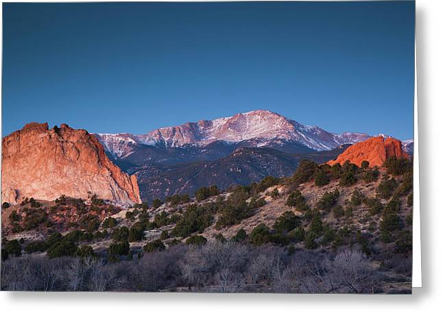 View Of Pikes Peak At Dawn, Garden Greeting Card