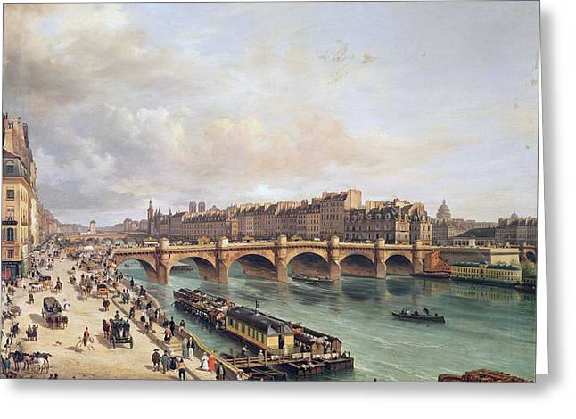 View Of Pont Neuf, 1832 Oil On Canvas Greeting Card
