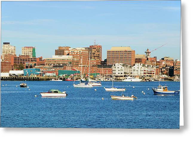 View Of Portland Harbor Boats Greeting Card