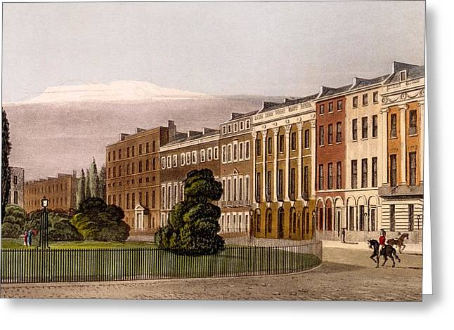 View Of Portman Square, North Side, 1816 Greeting Card by Rudolph Ackerman