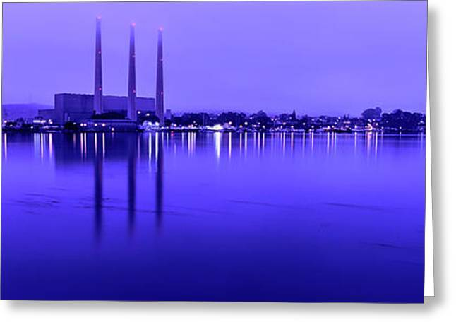 View Of Power Plant At Dusk, Morro Bay Greeting Card