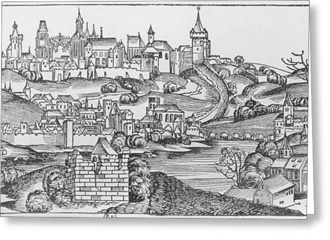 View Of Prague, Illustration From The Liber Chronicarum By Hartmann Schedel 1440-1514 Published Greeting Card