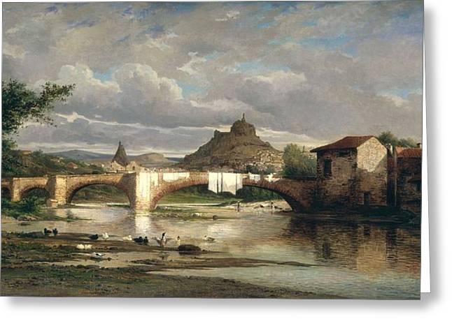 View Of Puy-en-velay From Espaly, 1872 Oil On Canvas Greeting Card by Auguste Allonge