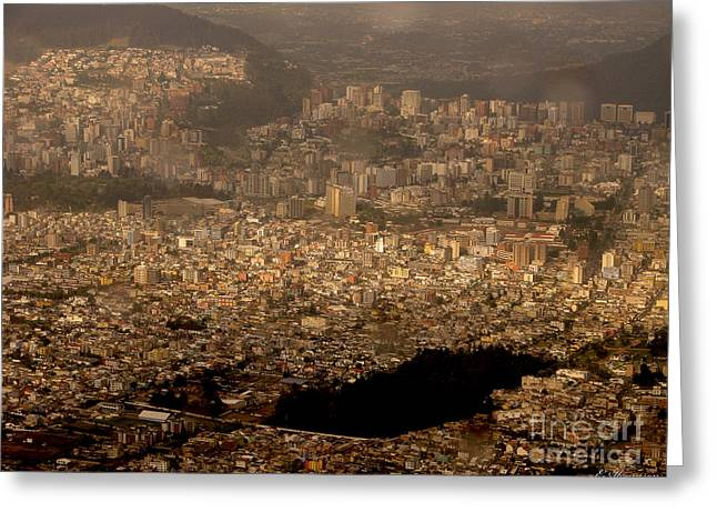 Greeting Card featuring the photograph View Of Quito From The Teleferiqo by Eleanor Abramson