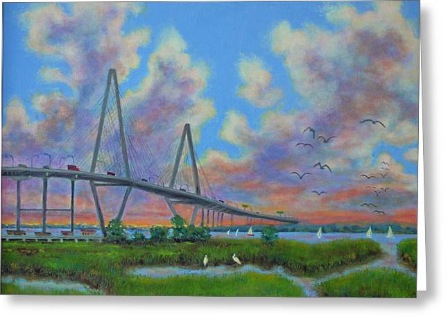 View Of Ravenal Bridge From The Marsh Greeting Card