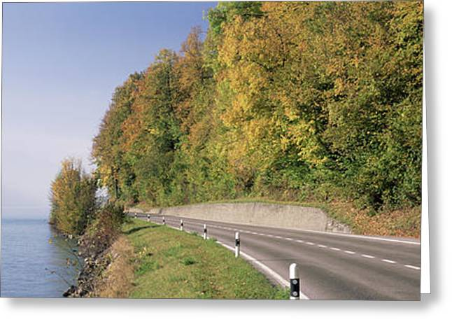 View Of Road By Lake Brienz, Berne Greeting Card by Panoramic Images