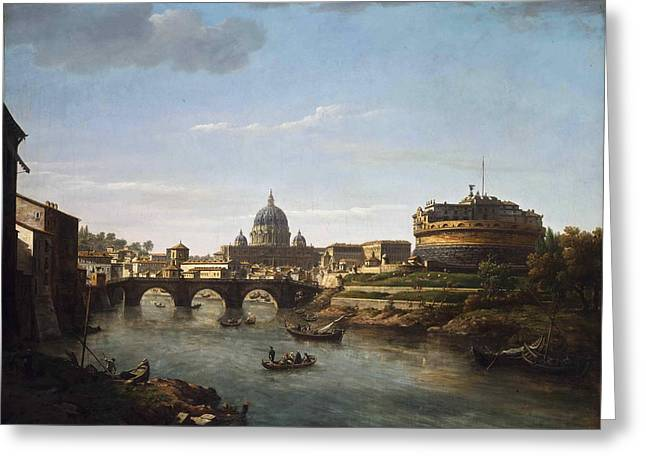 View Of Rome From The Tiber Greeting Card by William Marlow