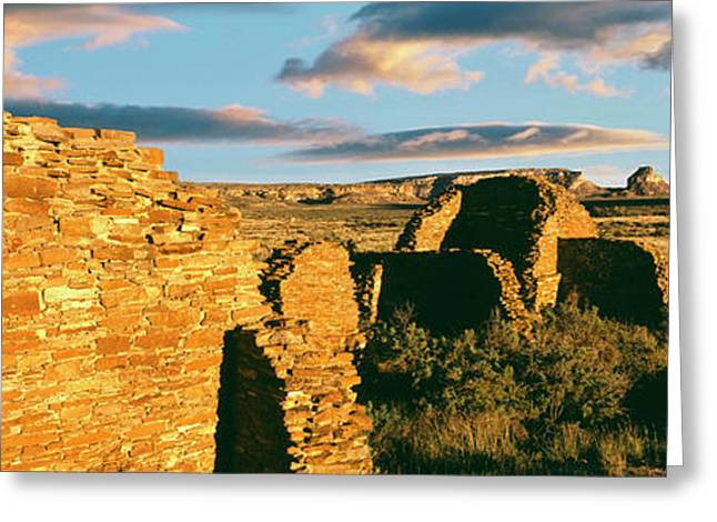 View Of Ruins Of Hungo Pavi, Chaco Greeting Card by Panoramic Images