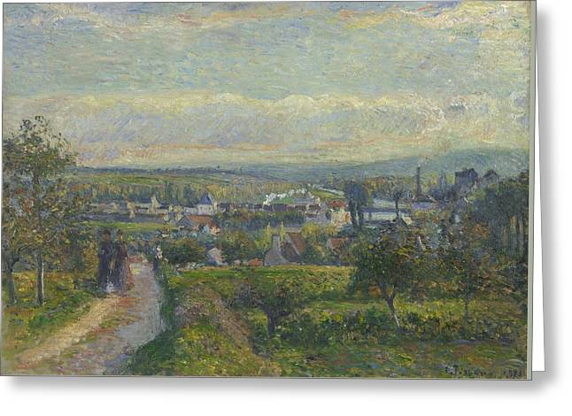 View Of Saint Ouen L Aumone, 1876 Greeting Card by Camille Pissarro