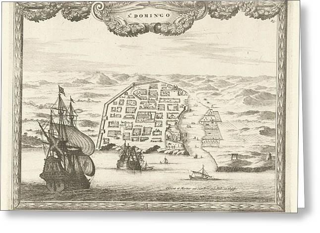 View Of Santo Domingo, Thomas Doesburgh, Johannes Covens Greeting Card