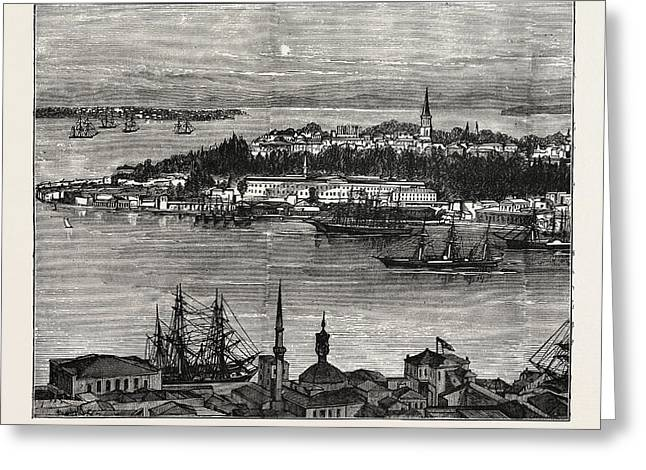 View Of Seraglio Point, Constantinople, Istanbul Greeting Card