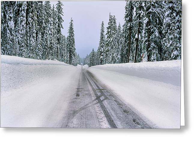 View Of Snow Covered Road, Willamette Greeting Card