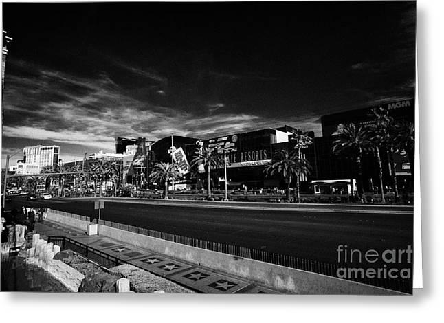 view of south Las Vegas boulevard strip from new york new york casino Nevada USA Greeting Card by Joe Fox