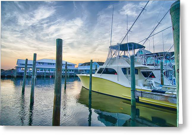 View Of Sportfishing Boats At Marina Greeting Card