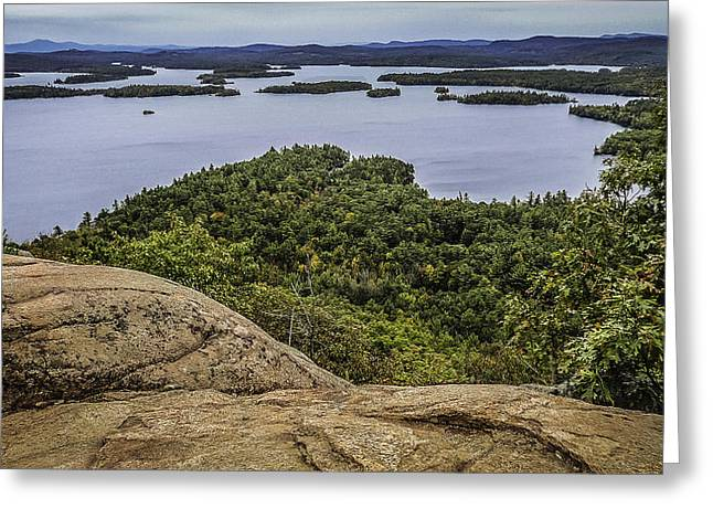 View Of Squam Lake From Rattlesnake Mountain Greeting Card by Karen Stephenson