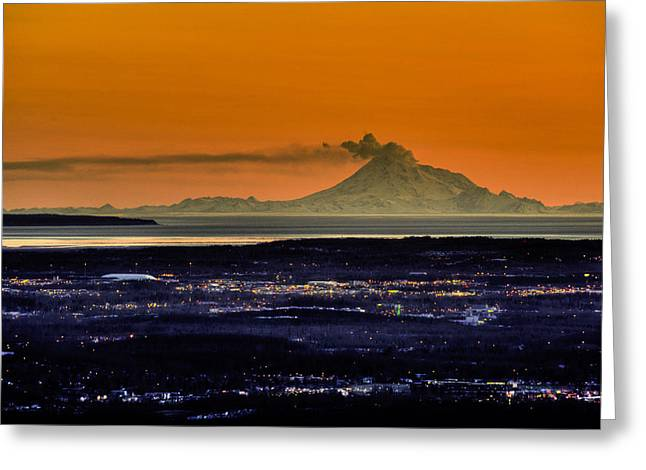 View Of The Anchorage Skyline At Sunset Greeting Card by Michael Jones
