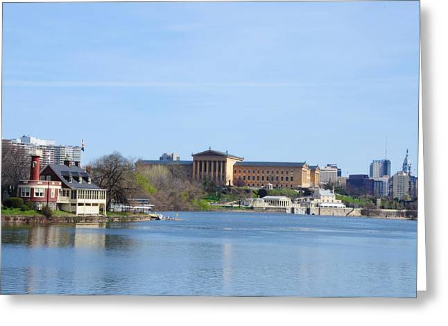 View Of The Art Museum And Waterworks In Philadelphia Greeting Card by Bill Cannon