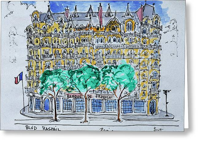 View Of The Bank Of France Greeting Card