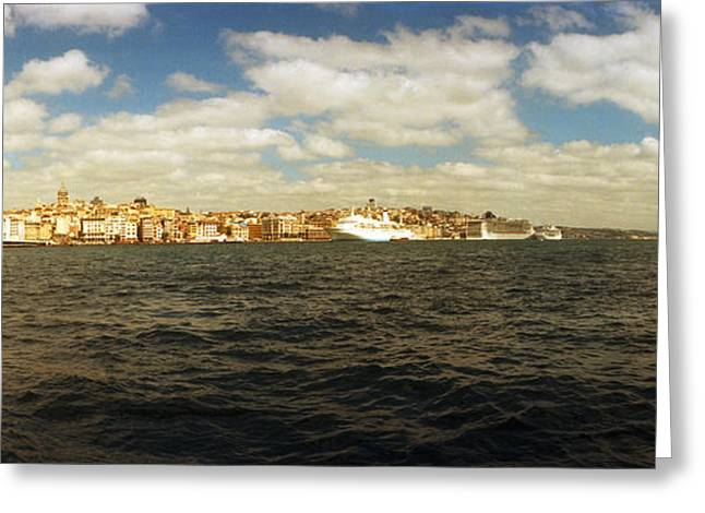 View Of The Bosphorus Strait, Istanbul Greeting Card by Panoramic Images