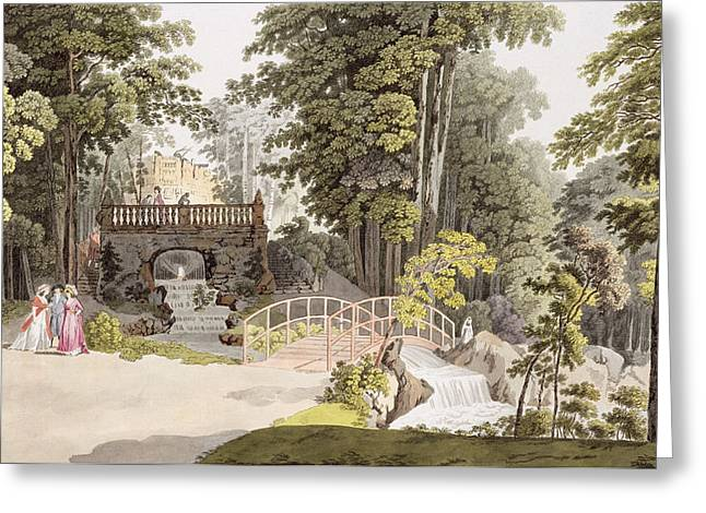 View Of The Cascade At Erlaw, Vienna Greeting Card by Laurenz Janscha