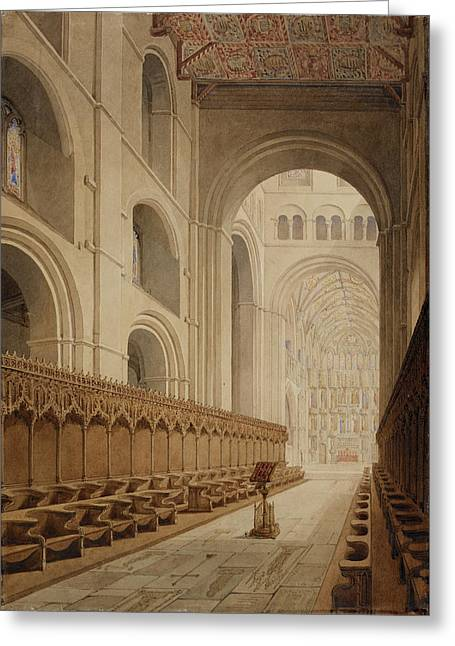 View Of The Choir Of St Alban's Abbey Greeting Card by British Library