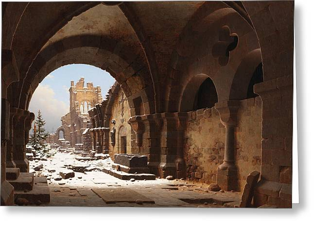 View Of The Church Ruin In Winter Greeting Card by Carl Hasenpflug