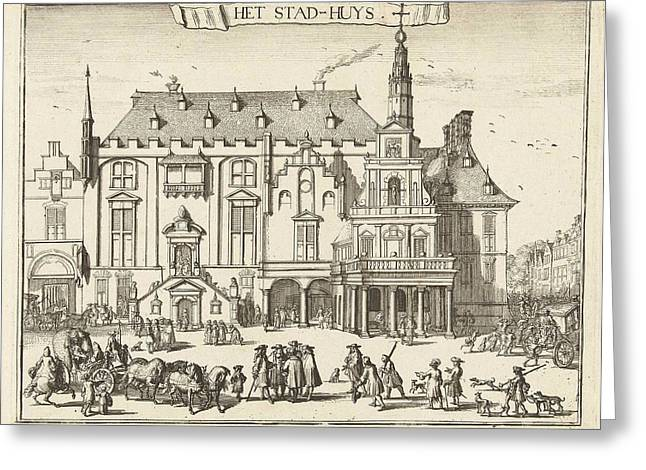 View Of The City Hall In Haarlem, The Netherlands Greeting Card by Romeyn De Hooghe