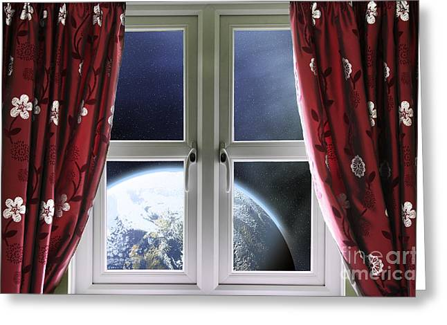 View Of The Earth Through A Window With Curtains Greeting Card by Simon Bratt Photography LRPS