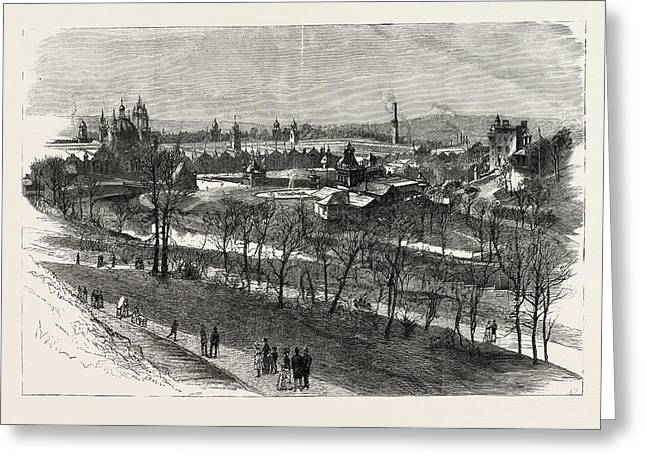 View Of The Exhibition Buildings And Kelvin Grove Greeting Card by English School