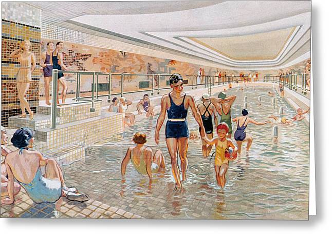 View Of The First Class Swimming Pool Greeting Card
