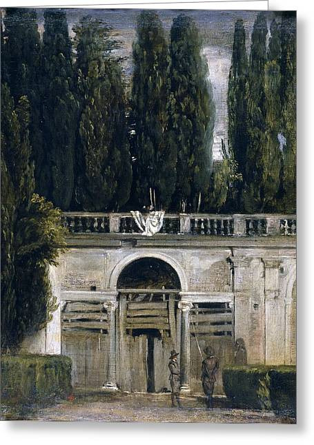 View Of The Garden Of The Villa Medici Greeting Card by Diego Velazquez