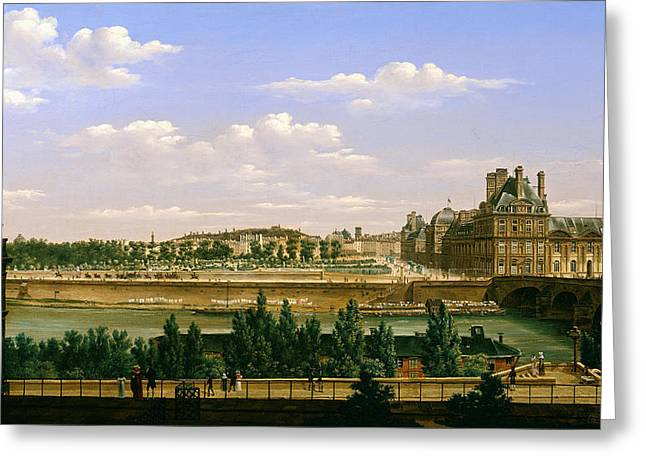 View Of The Gardens And Palace Of The Tuileries From The Quai Dorsay, 1813 Oil On Canvas Greeting Card by Etienne Bouhot
