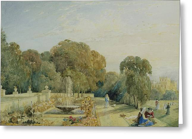 View Of The Gardens At Chatsworth Greeting Card by Frances Elizabeth Swinburne